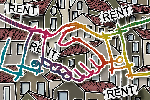 """Real estate concept image with colorful cartoon doodles background design, placards with written """"rent"""" on it and handshake on foreground"""